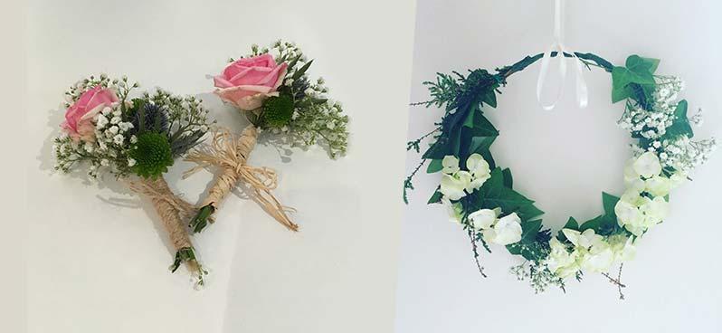 Art floral - Boutonnières et couronne de fleurs